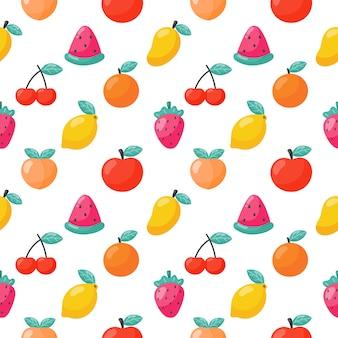 Бесшовные модели тропических фруктов изолированы. векторная иллюстрация