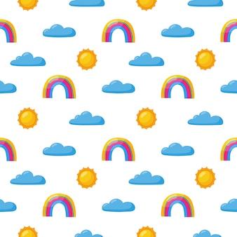 シームレスパターン太陽、虹、雲。白のかわいい壁紙。赤ちゃんのかわいいパステルカラー。変な顔の漫画。