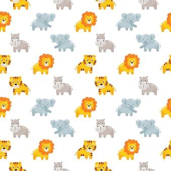 白で隔離の子供のためのシームレスなパターンかわいい動物アイコンを設定します。