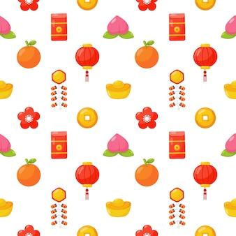 中国の旧正月のシームレスなパターンが分離されました。