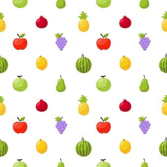 Бесшовные модели тропических фруктов на белом фоне.