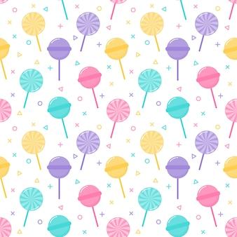 かわいいパステルキャンディ甘いデザートのシームレスパターン