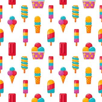 白のアイスクリームのシームレスパターン