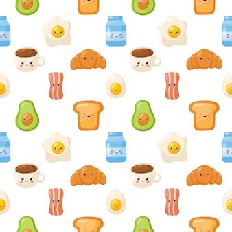 朝食食品文字アイコンは、白い背景で隔離のシームレスなパターンを設定します。