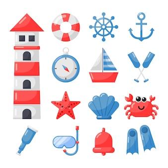 Морской набор иконок мультяшном стиле изолировать на белом