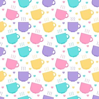 かわいいパステルカラーのかわいいコーヒーとティーカップの漫画のシームレスパターン