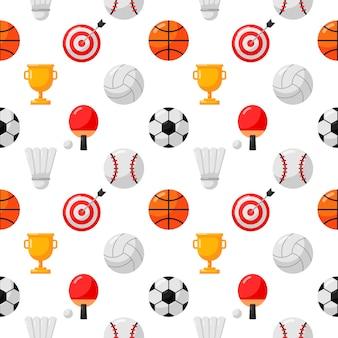 スポーツのシームレスなパターンアイコンが白い背景に分離されました。