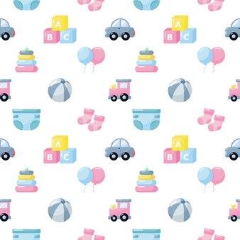 赤ちゃんのおもちゃと服アイコンのシームレスなパターン。白い背景の上の新生児アイテム。