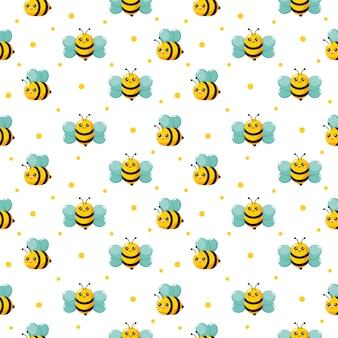 Милая медоносная пчела бесшовный фон