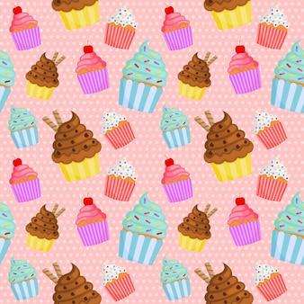 かわいい甘いカップケーキのシームレスパターン。夏のデザート
