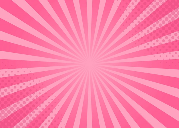 Абстрактный комикс розовый фон мультяшном стиле. солнечный лучик.