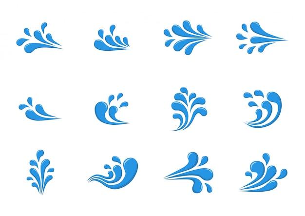 水スプラッシュアイコンまたは白い背景で隔離されたロゴ。漫画のスタイル。