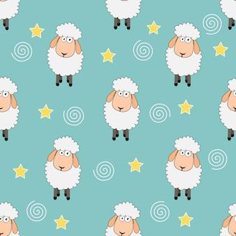 シームレスな甘い夢羊面白い動物のパターン。