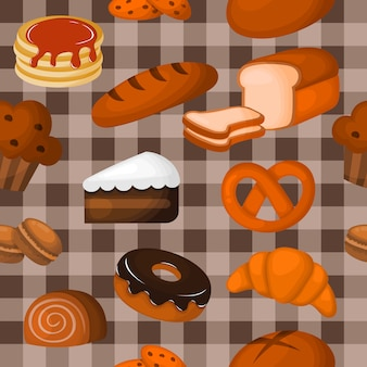 かわいいパン屋さんのシームレスなパターン。カフェやペストリーショップのデザート。イラストベクトル。