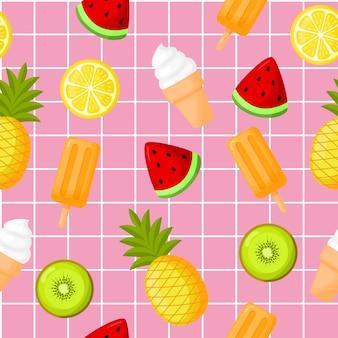 アイスクリームのシームレスパターンを持つかわいいトロピカルフルーツ。レモン、スイカ、パイナップル、キウイ。