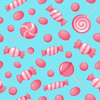 かわいいピンクのキャンディー甘いデザートのシームレスパターン
