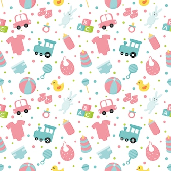 赤ちゃんのおもちゃや服のシームレスパターン。新生児のイラスト。