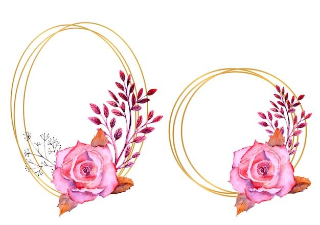 分離された円形と楕円形のフレームにピンクの水彩バラ