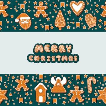 クリスマスのジンジャーブレッドクッキーの長方形のフレームを作る