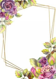 バラの花を持つ垂直フレームの背景