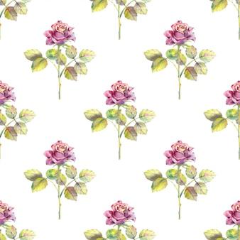 Бесшовный фон из розовых цветов и зеленых листьев