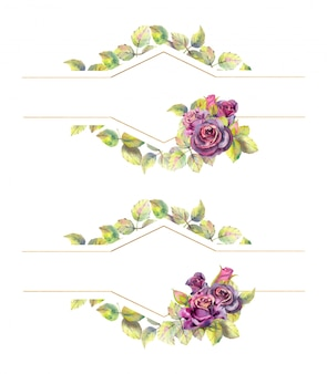 バラの花と幾何学的なゴールドフレーム。水彩組成