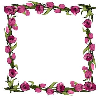 色付きのピンクのチューリップフレーム