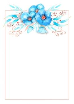 Романтическая рамка с цветами голубой морозник, бутоны, листья, декоративные веточки на фоне акварель