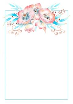ピンクのヘレボルスの花、つぼみ、葉、水彩画の背景に装飾的な小枝のロマンチックなフレーム。