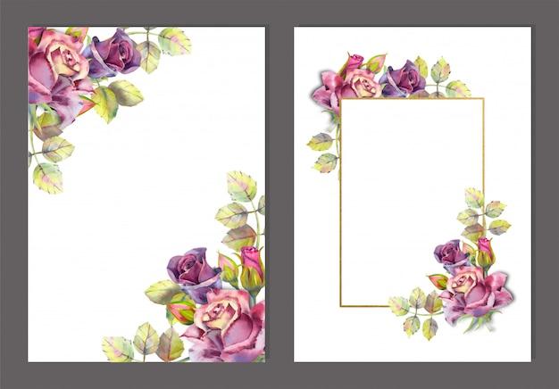 水彩花のフレームのセット。白地に濃いバラ