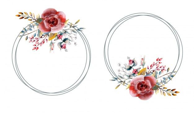 Красные акварельные розы в круглой рамке на белом изолированные.