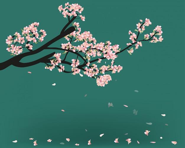 水彩桜フレーム。花の桜の木の枝の背景。