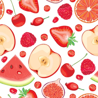 Бесшовный фон из красных фруктов и ягод