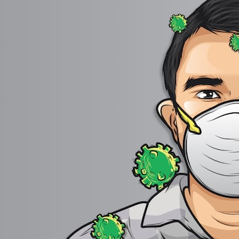 Человек, носящий медицинскую маску рисованной