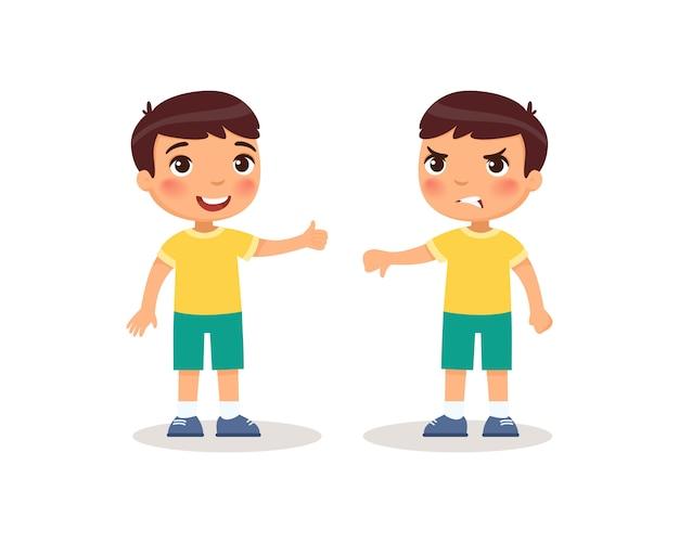 少年は親指を上に、親指を下に見せています。