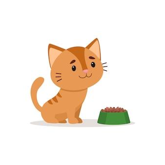 Рыжий котенок сидит с полной кошачьей миске.