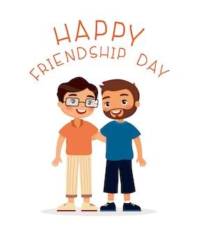 幸せな友情の日。二人の若い男がハグします。