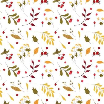 秋の気分フラットベクターのシームレスパターン。風が吹いて、黄色いカシ、カエデの葉が浮かんでいる。秋の野の花とクランベリー。