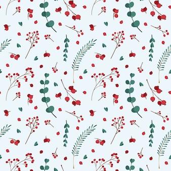 冬の植物とクリスマスのシームレスなパターン。