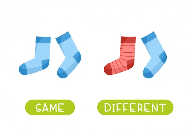 То же самое и разные. иллюстрация для детей в качестве учебного пособия