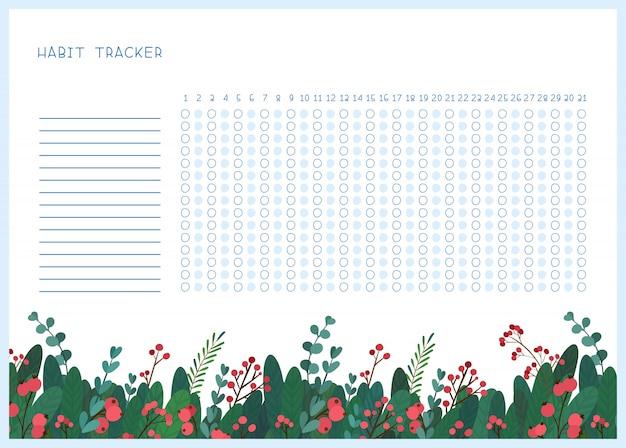 Привычка трекер для месяца плоский шаблон.