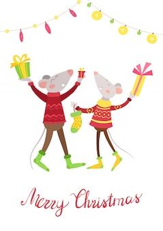 幸せなマウスカップルプレゼントフラットベクトル図
