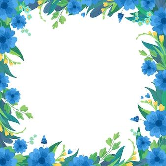 Цветочный квадрат пустой кадр плоский шаблон