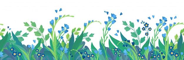 Цветочный плоский шаблон горизонтальный баннер фон.