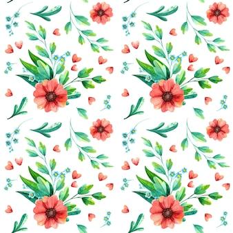 水彩春花のシームレスなパターン。