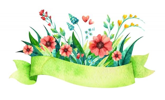 Цветы в зеленой ленте акварельные иллюстрации.