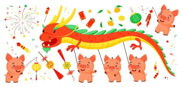 豚の中国の旧正月のための明るい要素のセット
