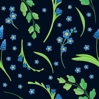 暗い青色の背景に抽象的な野生の花。青い花が咲くフラットレトロなシームレスパターン。デイジーとコーンフラワーの装飾的な背景。咲く草原の野生の花。