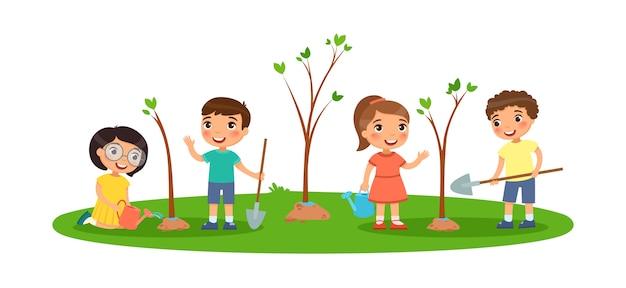 子供たちは木を植えます。スペードと水まき缶でかわいい男の子と女の子。エコロジーと環境の概念。