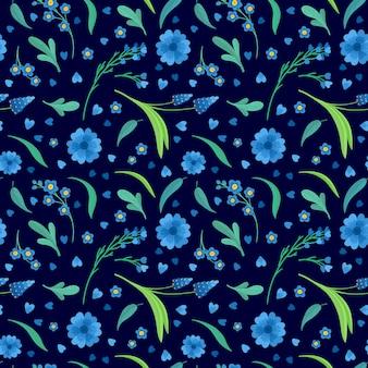 青い花の花フラットベクトルレトロなシームレスパターン。デイジーとコーンフラワーの装飾的な背景。花の背景。咲く草原の野生の花。ビンテージテキスタイル、ファブリック、壁紙デザイン